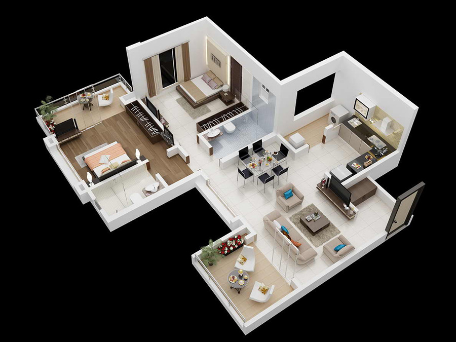 Floor plans mont vert avion for Two bhk home plans