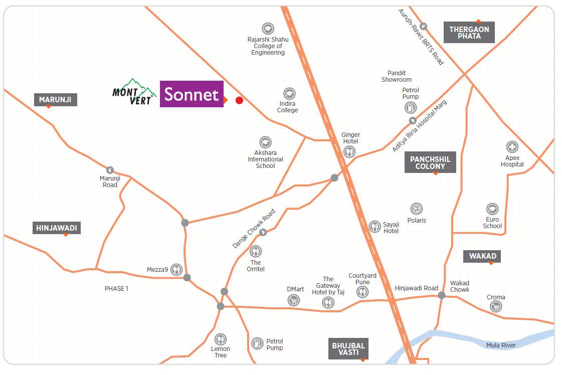 Location Map Mont Vert Sonnet Wakad Pune