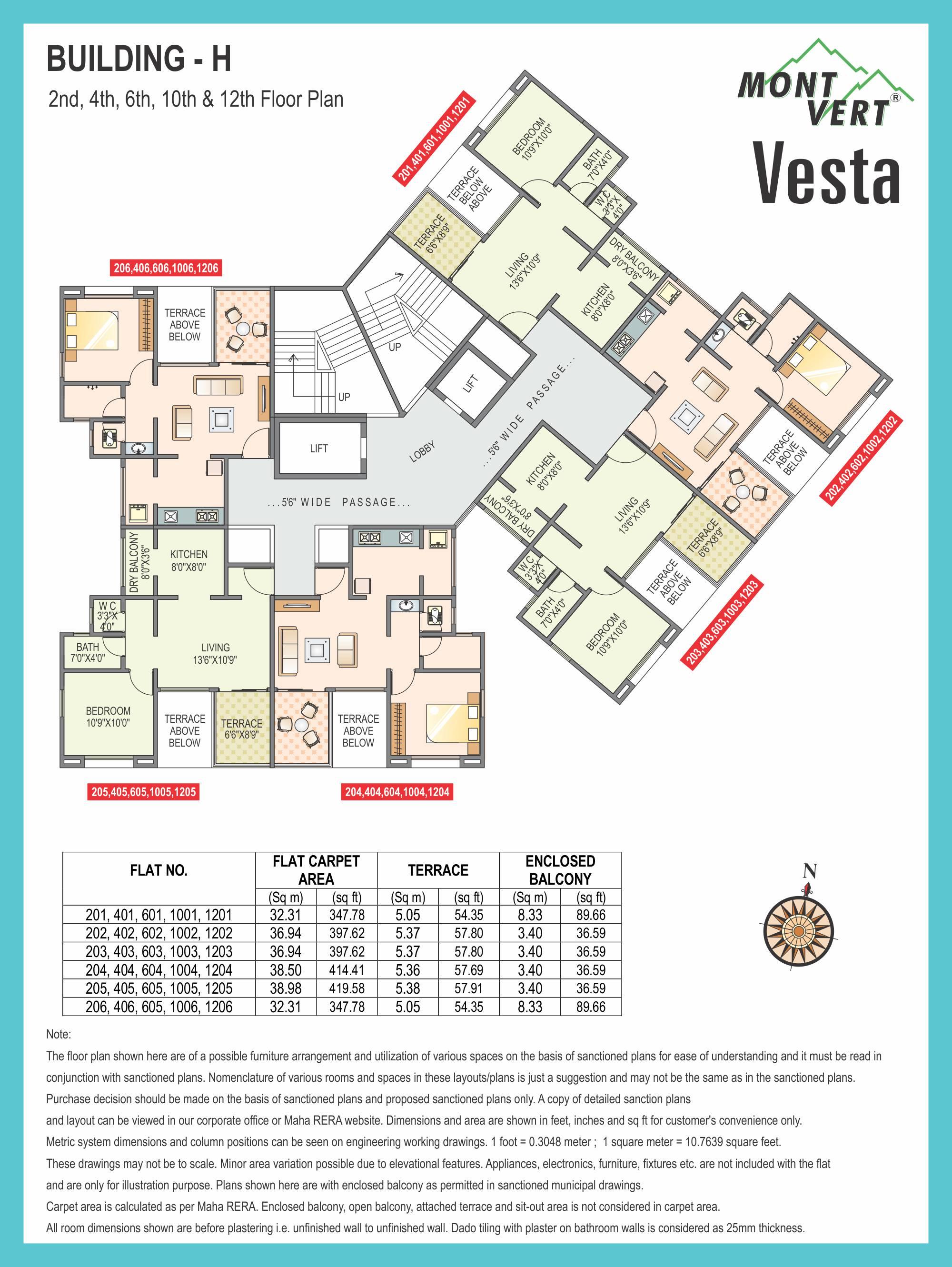 1 BHK Even Floor Plans – Mont Vert Vesta
