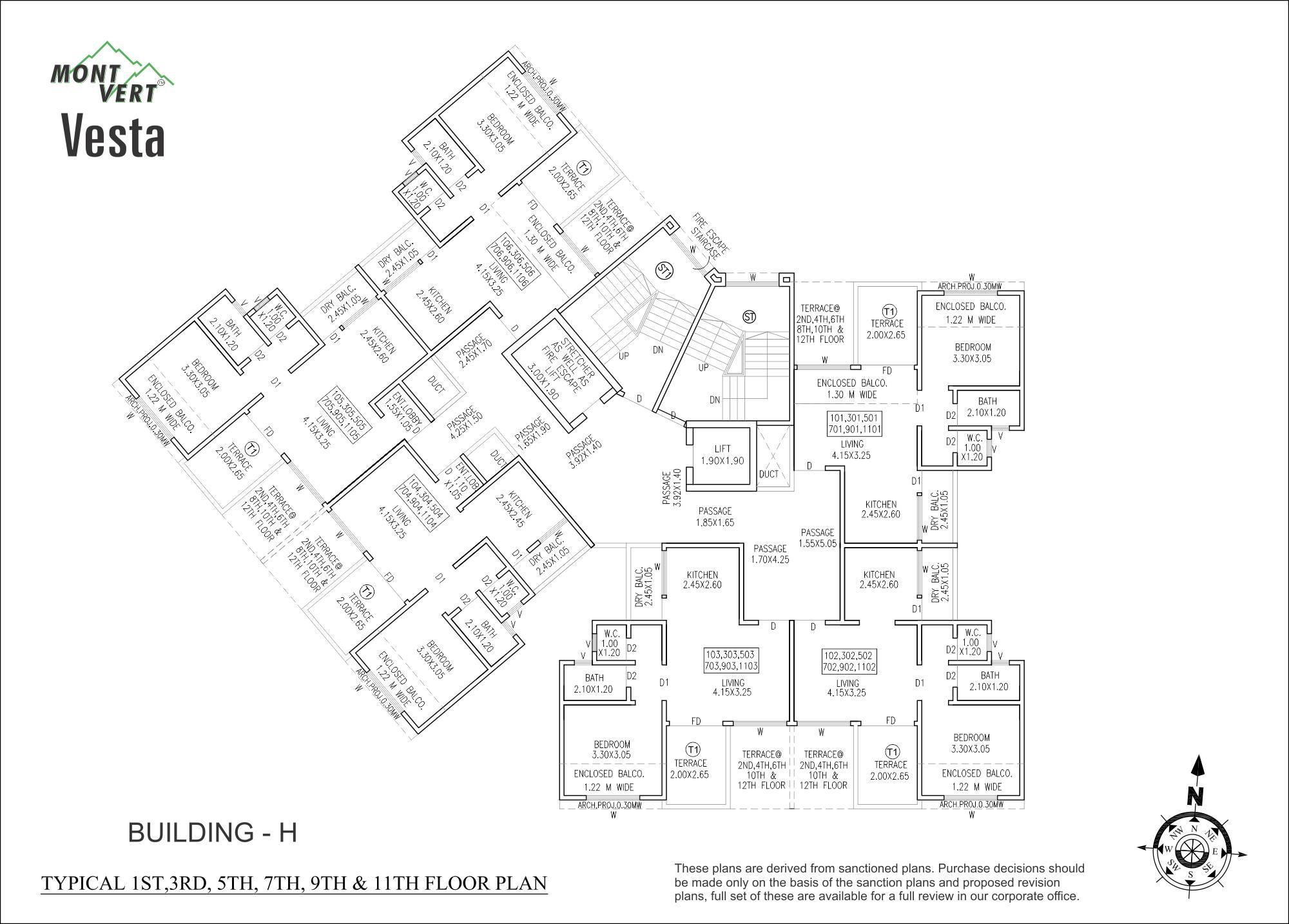 1 BHK Odd Floor Plans – Mont Vert Vesta