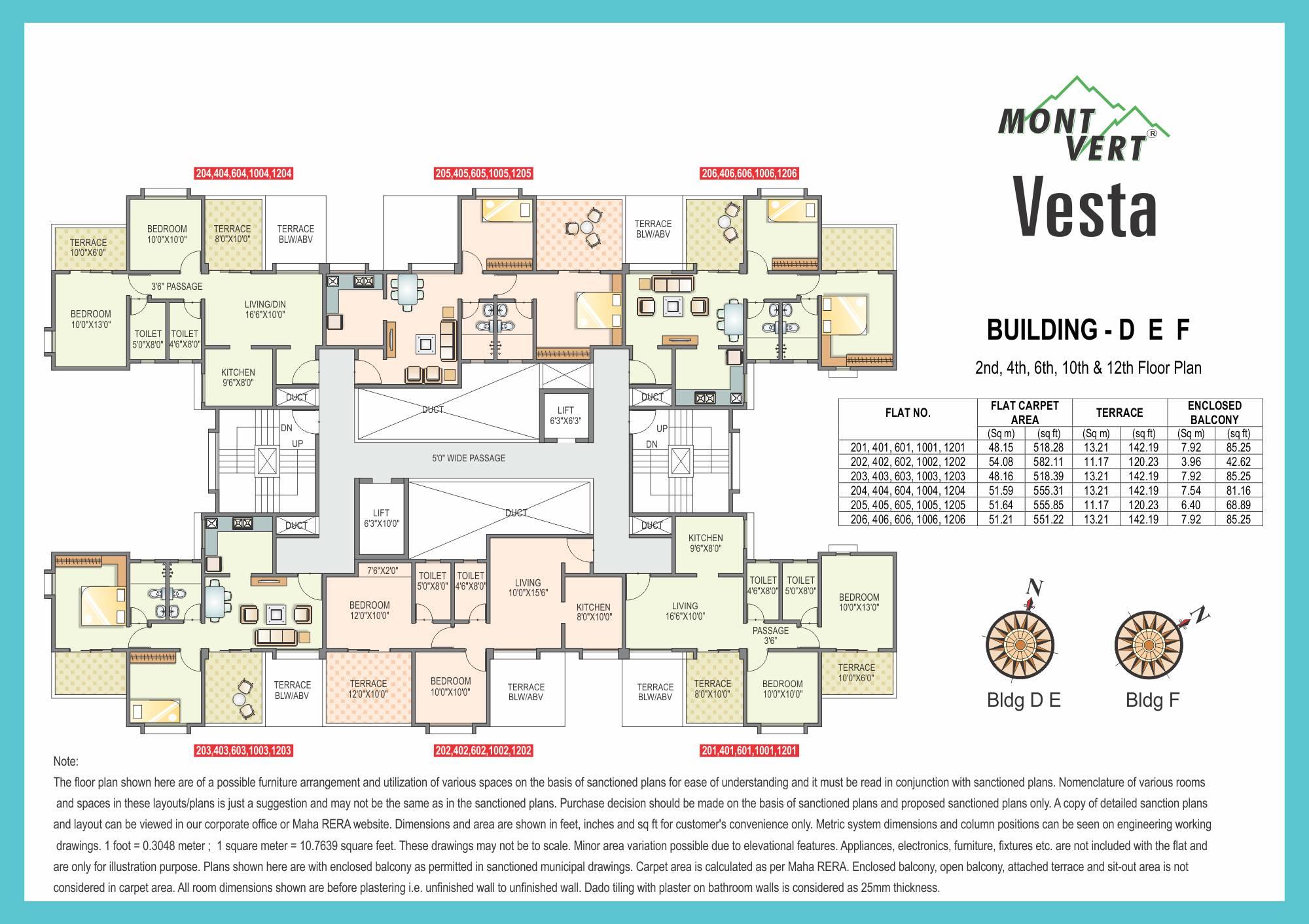 2 BHK Even Floor Plans – Mont Vert Vesta