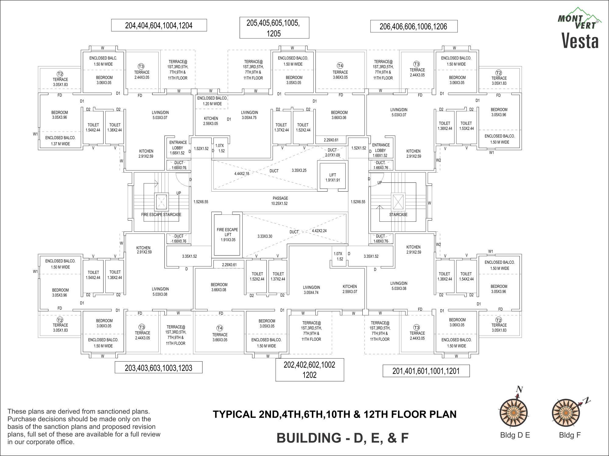 2 BHK Even Floor Plans D, E, F – Mont Vert Vesta